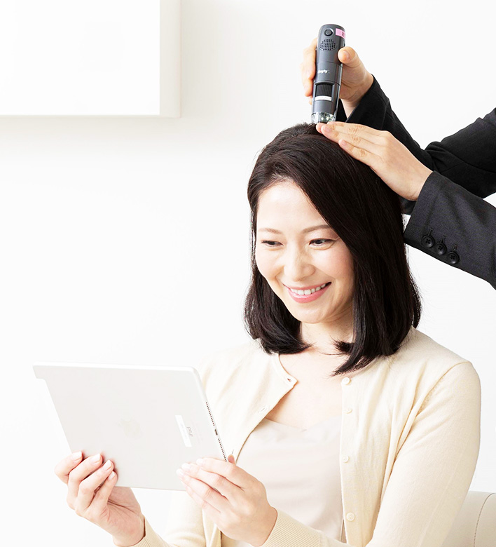 A hair adviser will suggest the best way for your hair and scalp treatments.
